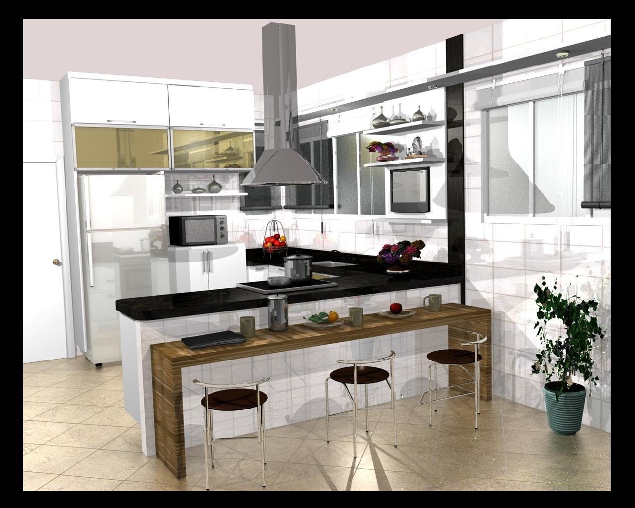 cozinhas americanas com sala decoradas