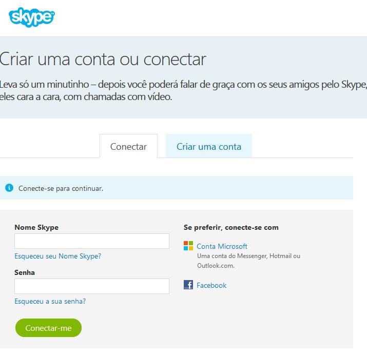 entrar no skype login no skype