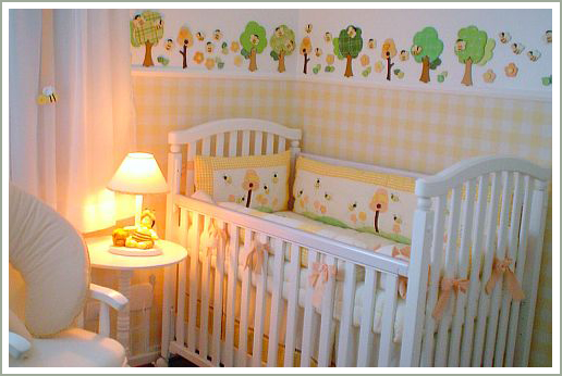 quartos de bebe com papel de parede
