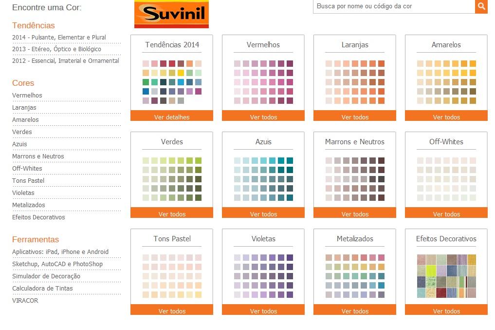 tabela de cores suvinil 2014